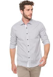 Camisa Guess Slim Quadriculada Branca/Preta