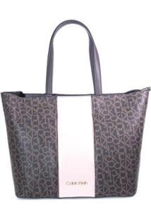 Bolsa Monograma Calvin Klein Feminina - Feminino-Marrom