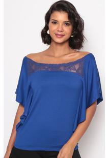 Blusa Ombro A Ombro Com Tule Bordado- Azul- Thiptonthipton