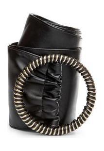 Cinto Cintura Largo Detalhe Rolete Preto - M