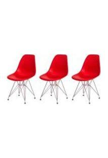 Kit 3 Cadeiras Eiffel Eames Vermelha Base Cromada Sala Cozinha Jantar