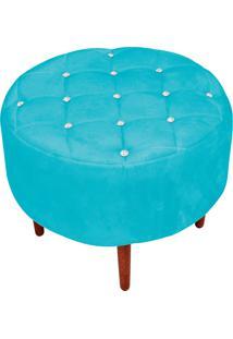Puff Decorativo Com Strass Esmeralda Suede Azul Tiffany Pés Palito - D'Rossi