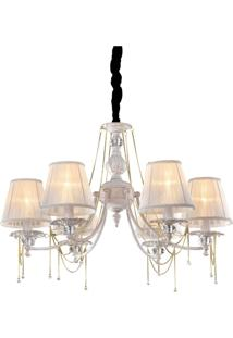 Lustre Lamp Show Nice Branco E Dourado