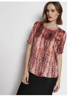 Camiseta Acetinada Animal- Rosê & Marrom- Simple Lifsimple Life