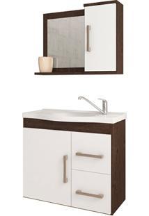 Gabinete Suspenso Para Banheiro Vix 56,5X63,5Cm Branco E Café