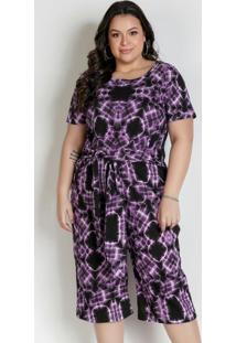 Macacão Pantacourt Tie Dye Roxo Plus Size