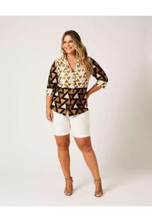 Shorts Liso Almaria Plus Size Ela Linda Pregas Lat