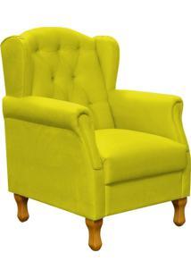 Poltrona Decorativa Para Sala De Estar Yara Suede Amarelo - Lyam Decor