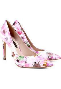 Scarpin Couro Jorge Bischoff Salto Alto Floral Feminino - Feminino-Floral