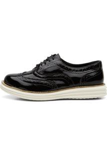 Sapato Oxford Mocassim Despojado Casual Preto Verniz