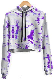 Blusa Cropped Moletom Feminina Marmorizado Tie Dye Md21 - Branco - Feminino - Poliã©Ster - Dafiti
