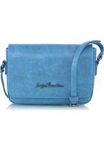 Bolsa Pequena Em Couro Texturizado Azul