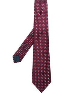 Lanvin Gravata Com Bordado De Seda - Vermelho