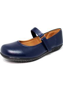 Sapato Sapatilha Boneca Fechado Confort Azul Marinho - Azul - Feminino - Dafiti