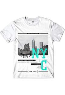 Camiseta Bsc Nova Iorque Capital Da Cultura Masculina - Masculino-Branco