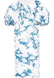 Rasario Vestido Midi Ombro A Ombro Com Estampa Floral - Branco