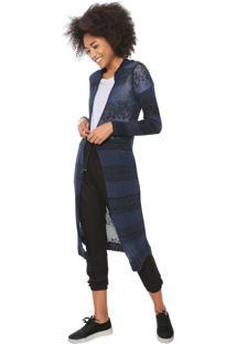 Maxi Cardigan Oh Boy Tricot Capuz Azul-Marinho/Preto