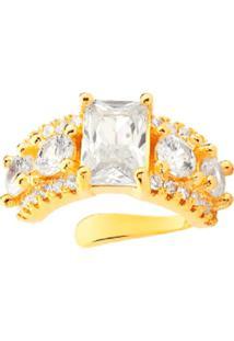 Brinco Piercing Multi Cravejado Com Cristal Retangular Banhado A Ouro 18K - Dourado - Feminino - Dafiti