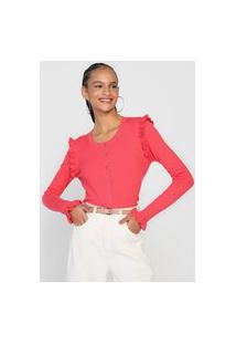 Cardigan Tricot Facinelli By Mooncity Babados Rosa