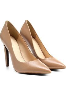 Scarpin Couro Shoestock Salto Alto Animal Print - Feminino-Nude