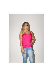 Blusa Morena Linda Em Viscose Com Alça Dupla Rosa Pink Multicolorido