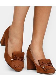 Scarpin Couro Shoestock Salto Médio Franjas - Feminino-Caramelo