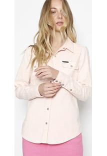 Camisa Lisa Em Sarja - Rosãªcalvin Klein