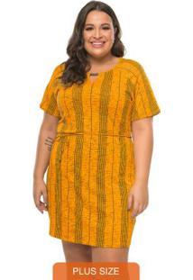 Vestido Estampado Rovitex Plus Size Amarelo