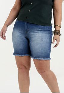 Bermuda Feminina Jeans Barra Desfiada Plus Size Marisa