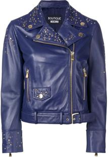 Boutique Moschino Studded Biker Jacket - Azul
