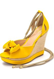 Sandalia Anabela Dia A Dia Ellas Online Amarelo - Tricae