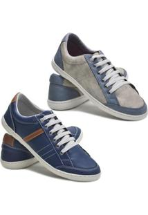 Kit 2 Pares Sapatênis Dec Shoes Tênis Casual Masculino - Masculino-Azul+Cinza