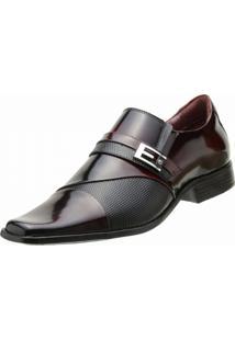 Sapato Social Goffer Verniz Vinho