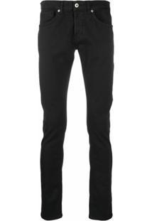Dondup Calça Jeans Slim Com Lavagem Escura - Preto