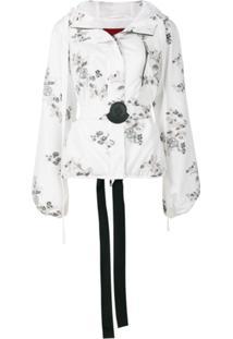 Moncler Jaqueta Floral De Seda - Branco