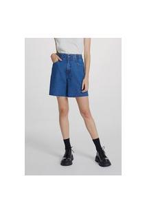 Bermuda Jeans Feminina Cintura Alta Com Elástico