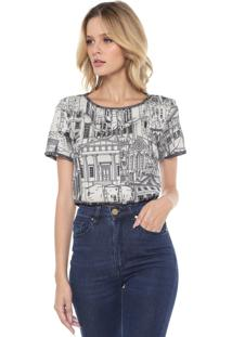 Blusa Cropped Lança Perfume Estampada Off-White