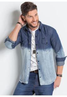 Camisa Jeans Actual Com Lavação Em Tie Dye