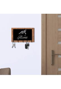 Porta Chaves E Cartas Casa Home Corten E Preto Com Relevo Espelhado Prata Único