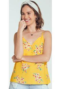 Blusa Amarela Estampada Floral Alcinha