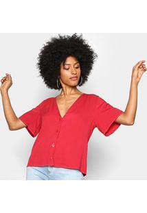 Blusa Colcci Botões Pespontos Feminina - Feminino-Vermelho