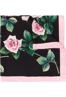 Dolce & Gabbana Echarpe Com Estampa De Rosa - Preto