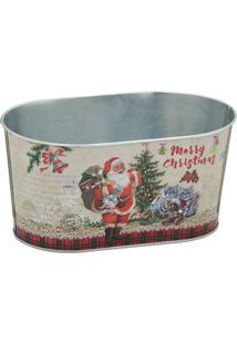 Cachepot Papai Noel- Bege & Vermelho- 11X22,5X13,5Cmmabruk