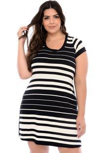 Vestido Elegance All Curves Plus Size Listrado Em Preto E Branco Desigual