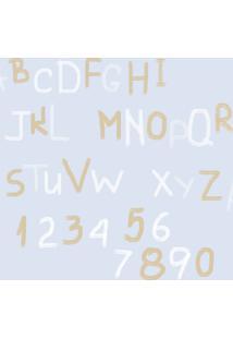 Papel De Parede Coleção Bim Bum Bam Azul Branco Dourado Letras 2256 Cristiana Masy