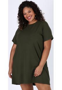 Vestido Feminino Plus Size Curto Com Bolsos Manga Curta Verde Militar