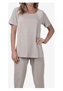 Pijama Longo Moletinho Com Renda Maví (Pj901) Mescla De Algodão