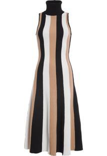 Vestido Tricolor Midi Listrado Animale - Preto