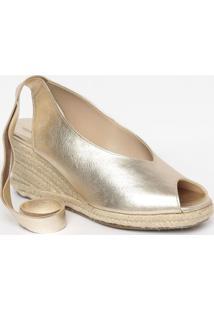 Sandã¡Lia Anabela Em Couro- Dourada & Bege- Salto: 8Cmya Haas