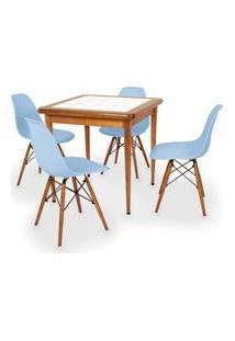 Conjunto Mesa De Jantar Em Madeira Imbuia Com Azulejo + 4 Cadeiras Eames Eiffel - Azul Claro